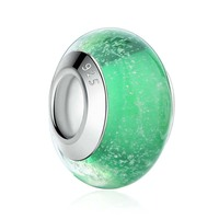 SJ Dainty boutique beads environment brass silver plated DIY pinkycolor green glass beads glowing in the dark PA6368