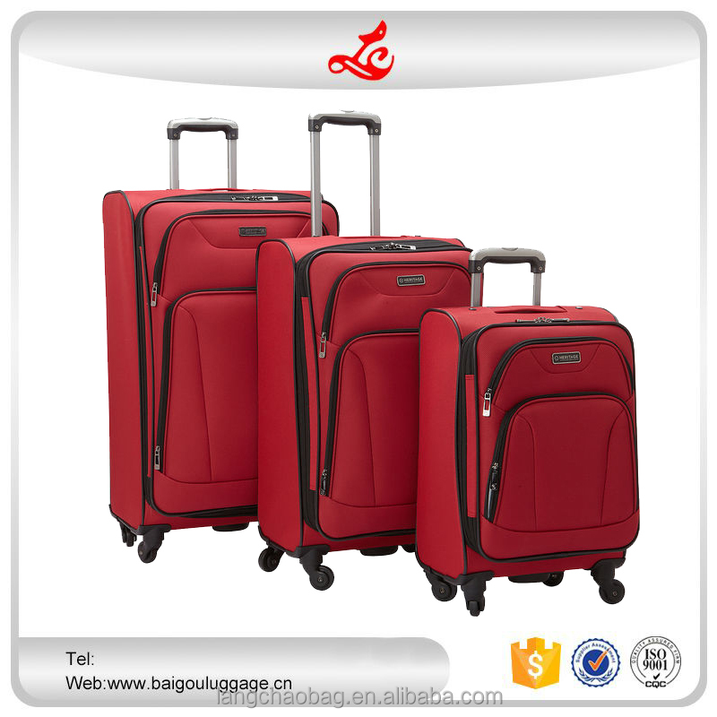 "2016 hot selling light weight luggage 20""24""28"" factory suitcase nylon elegant luggage set"