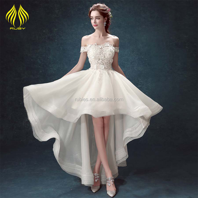 short front long back flowers floral bridesmaid dress tube bridal wedding gown
