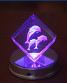 New product 3D led dolphin crystal engraved block for souvenir