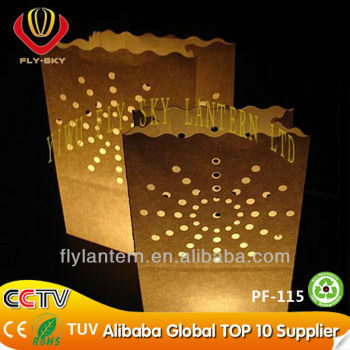 2015 wholesale luminary cute paper gift candle bags for decoration