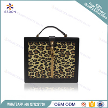 Women's Wood Clutch Purse Evening Handbags Wooden leatherette leopard print Cross Body Bag With Chain