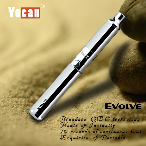 2017 new Cheap price 650mAh battery pancake coil Yocan Evolve dry herb vaporizer ego (Silver )