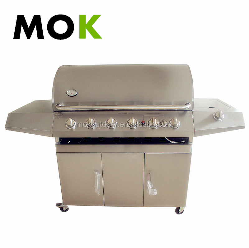 No smoke Stainless steel gas bbq grill 6+1 gas bbq grill beef cooking stove