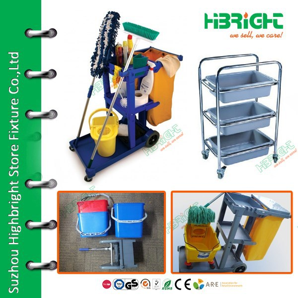 Hotel cleaning cart/ Hotel housekeeping maid plastic Service trolley