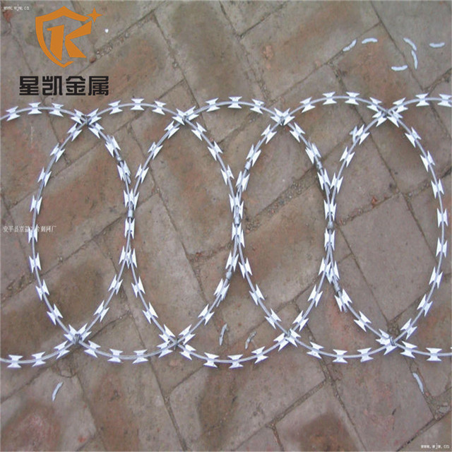 manufacturer of 56 loops BTO cross coil electric galvanized concertina razor barbed wire