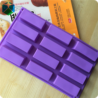 CTBED044 12 Even Rectangle Bulk Soap Making Supplies Decorative Pattern Decoration Heart Craft Art Silicone Soap Craft Molds