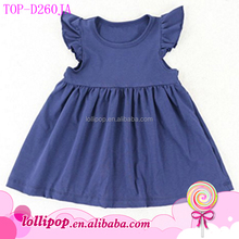 Designer cotton dresses for girls 2017 NEW angel flutter sleeve kids girls shirts top pearl lap dress tunics