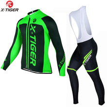 X-TIGER Cycling Jersey Sets Men Long Sleeve MTB Breathable Quick Dry Summer <strong>Sportswear</strong> 5D Gel Pad Bike Clothing Bib Set