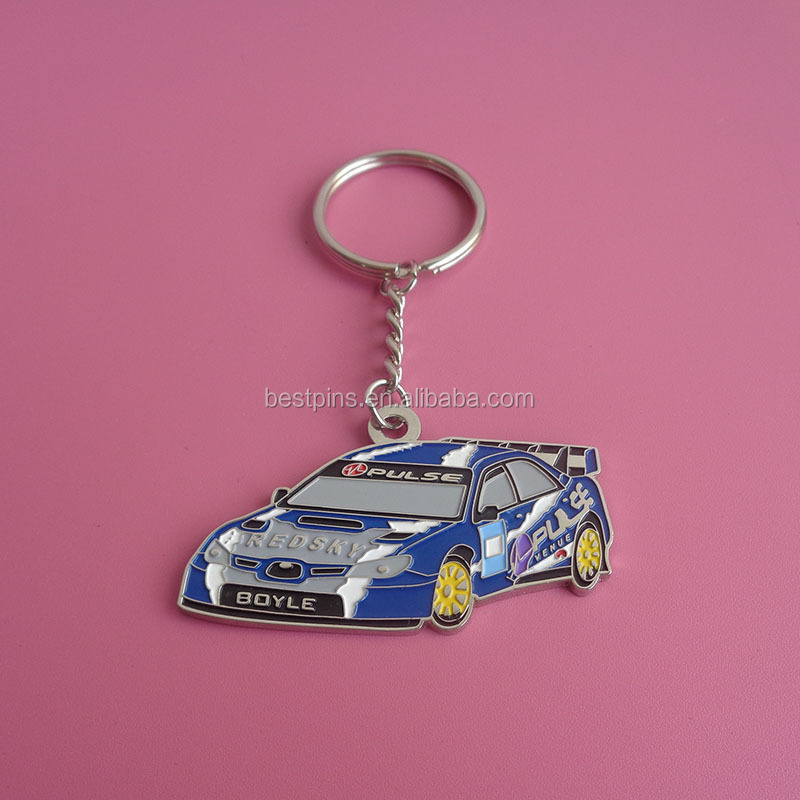 custom zinc alloy racing car shape keychains, popular soft enamel car key tags, custom pulse car logo key rings