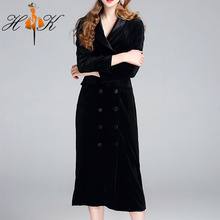 HTK elegant latest office dress with belt long sleeve velour ladies office wear