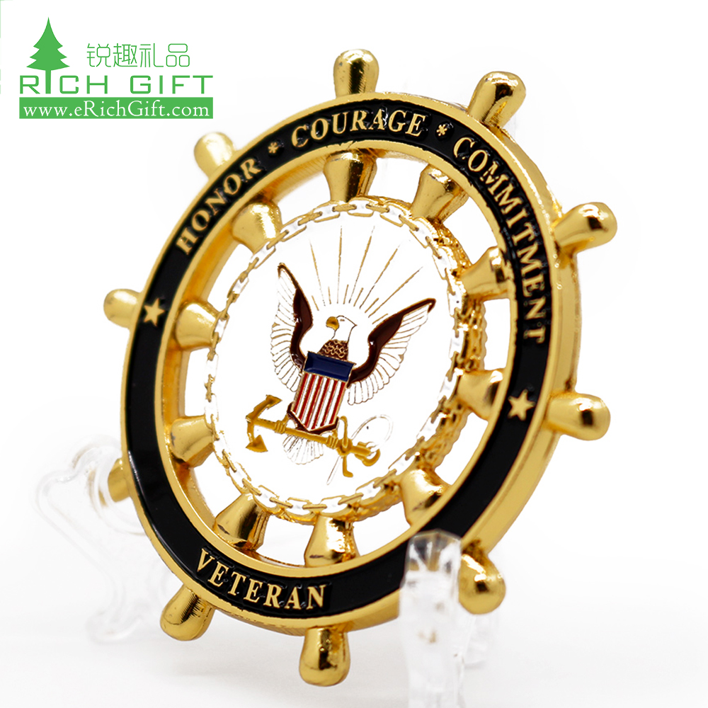 High quality cheap custom gold plated american eagle red cross 3d challenge metal coin collecting supplies