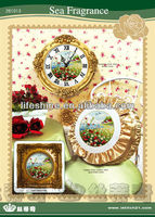 Beautiful embroidery clock kit with beautiful landscape printed for decration