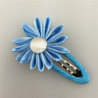 Accessories Fashion cheap ribbon blue hairclip with flower for Decoration