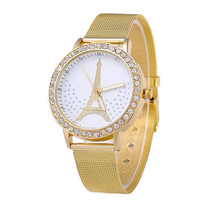 Trendy Diamond Women Watches Alloy Mesh Band Tower Ladies Watches