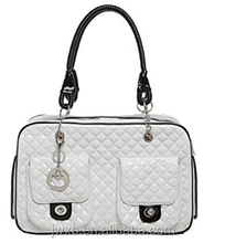 White Quilted Designer Inspired Faux Patent Leather Dog & Cat Pet Carrier Tote Handbag