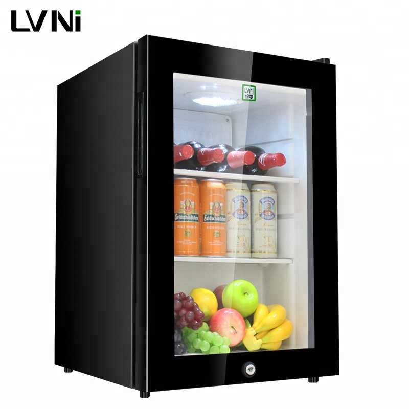 LVNI lockable cool 62L drink small mini bar compressor fridge <strong>refrigerator</strong> with tempered glass door