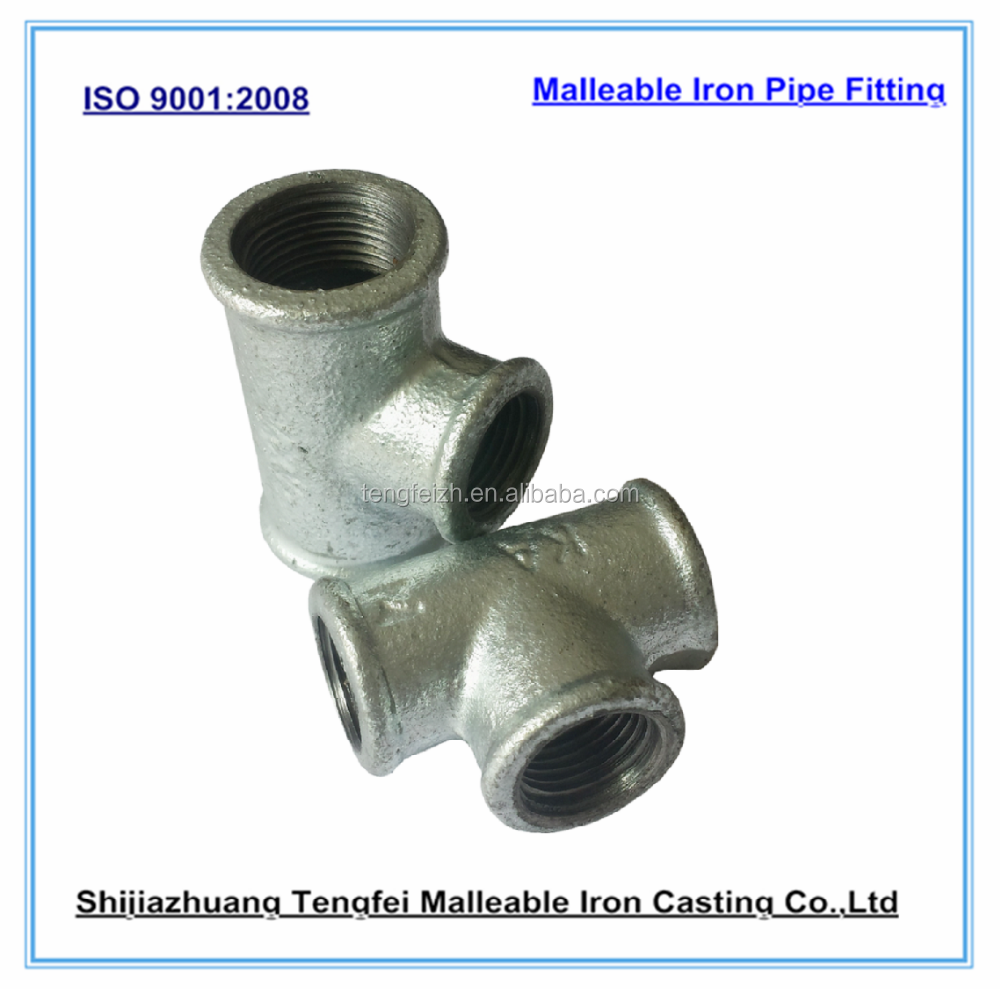 Galvanized cast iron pipe fitting tee for