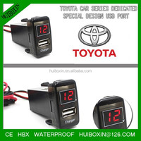 New micro usb car charger with Digital voltmeter specialize fit for honda Vigo