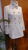 lady's white wool cashmere coat / elegant winter overcoat