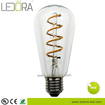 ST64 antique Edison bulb 5W 6w dimmable soft LED filament 220V/240V E27 base spiral design light bulb