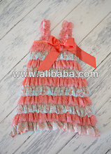 new design beautiful dress!Aqua and coral lace dress for baby girl and toddler girl