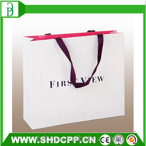 china supplier white custom paper bag with printed logo