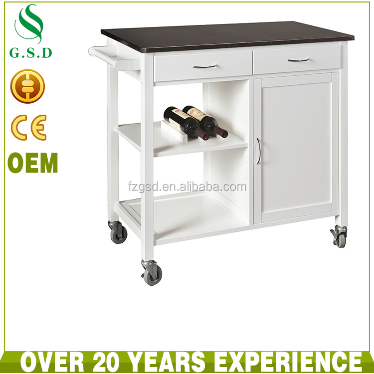White MDF wooden kitchen trolley cart with stainless steel top