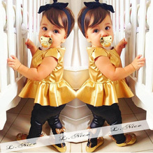 Short Sleeve Dresses Black Pants Little Girl Baby Clothes Wholesale Price