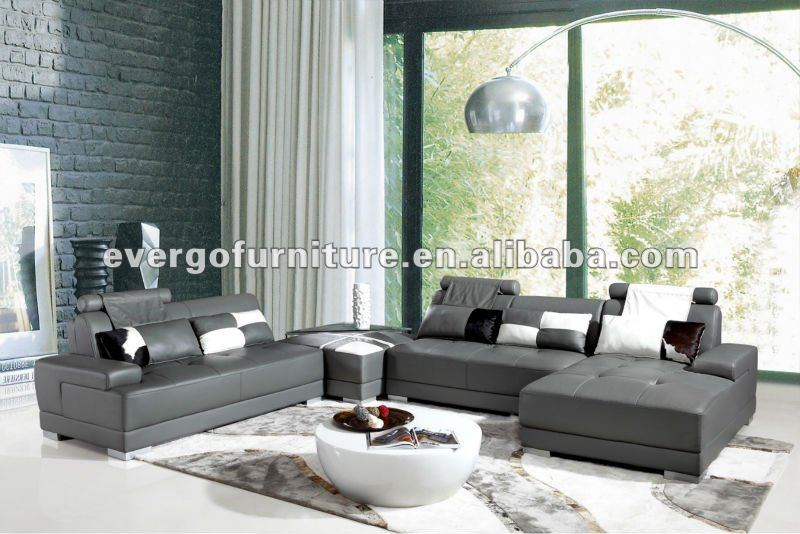 Modern grey real leather sofa design for house