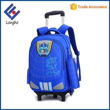 Wholesale cartoon children travel trolley luggage bag thick spongia back detachable kids school bag with wheels