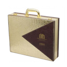 Pu cover wood wine case wholesale leather wine gift packaging box carrying case