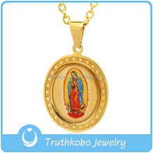 New Design 2016 High Quality Gold Oval Shape Religious Enamel Epoxy Our Lady of Guadalupe Miraculous Mary Medal Charm Pendant