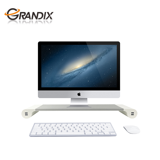 Aluminum Laptop Monitor Stand, Desktop PC Monitor Riser with 4 USB Ports and Keyboard Storage