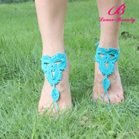 Wholesale bright blue cotton beach girls indian foot jewelry