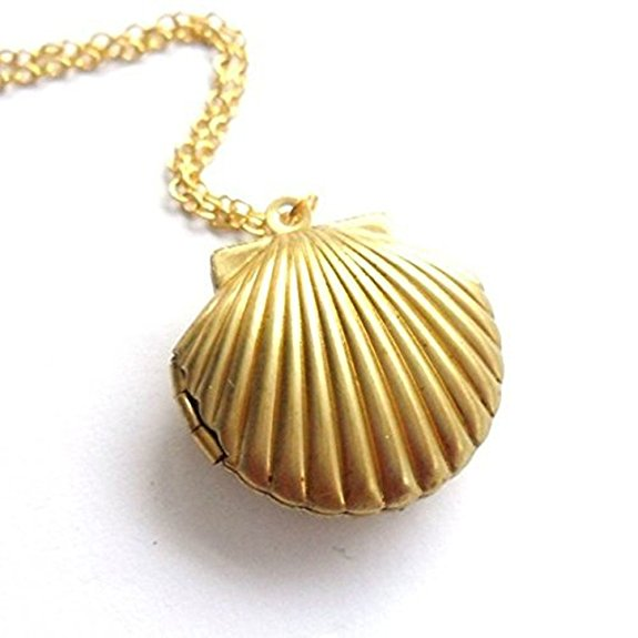 seashell design gold plated pendant necklace <strong>jewelry</strong>