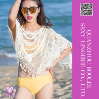 High Quality White Short Bat Sleeves Crochet Cover-up Beachwear