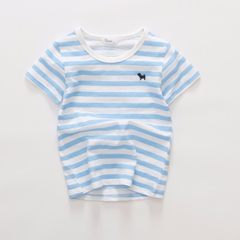 high quality promotion cheap stripe round neck short sleeve baby boys fancy slub cotton wholesale raglan t shirt