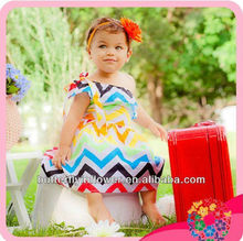 2014 sales promotion! girls rainbow chevron toddler dress cotton party dresses girls one shoulder chevron baby girls dress