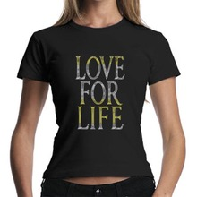 Love for life rhinestone text body fit t-shirt