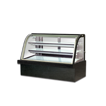 Good quality 2 Shelves Cake showcase refrigerator curved glass display black marble