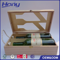 2 or Double Bottles Wine Wooden Box with Glass Top Window and Rope Handle
