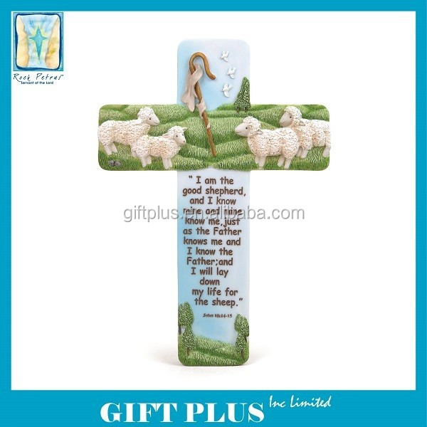 Rock Petrus The Lord is my Shepherd Religious Hanging Cross Figurine
