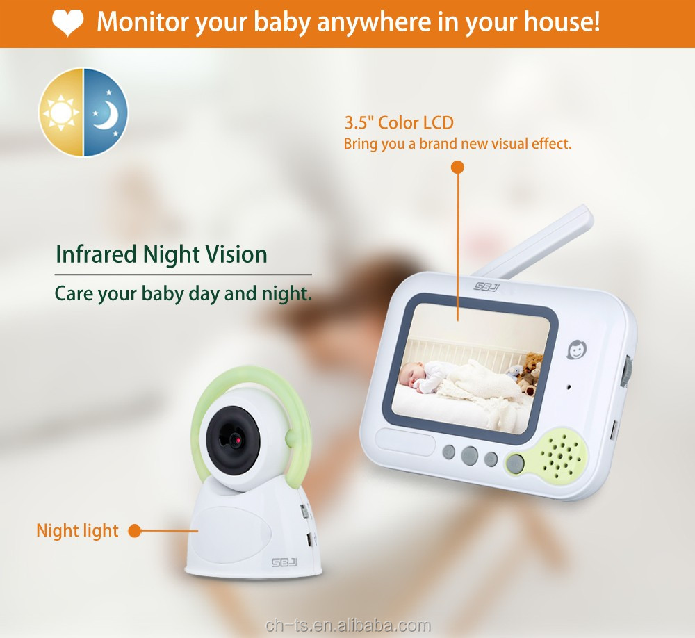 3.5inch lcd wireless long range audio video music night light baby camera monitor