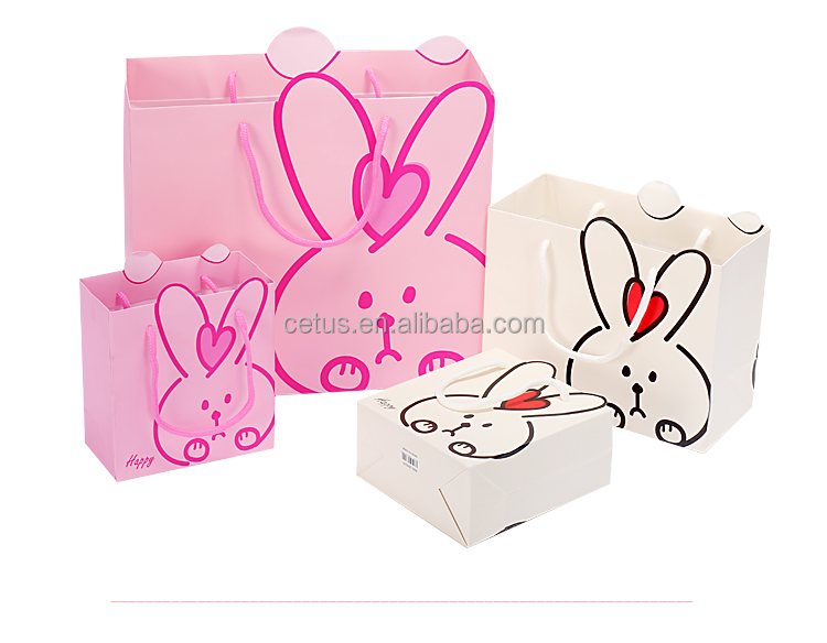 custom design rabbit design white card paper bag with handle