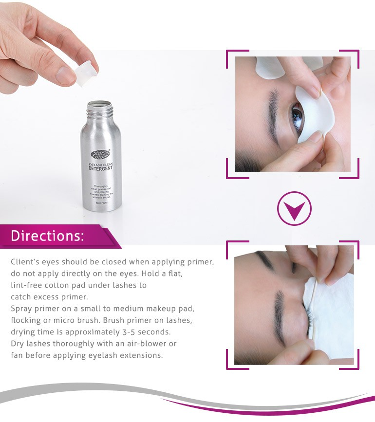 Professional Oil Free Eyelash Glue Type eyelash cleanser for eyelash extension 70ML