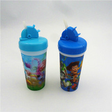 plastic children 3d water cup 3D cute straw cup