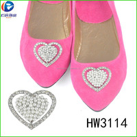 HW3114 shoe accessories shoes buckle shoe ornaments heart shape metal spring clip