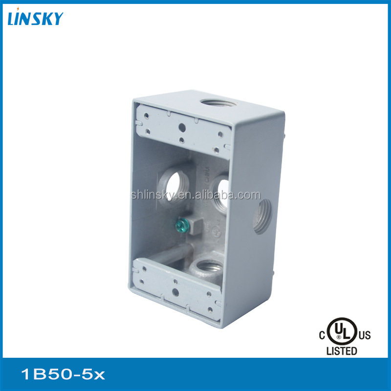 "aluminium electric 5out let holes 1/2""hole 18.3cubic inch 1gang weatherproof outdoor telephone junction box"