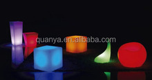 Fancy LED colorful lamplight bar decoration LED cubic stool,vase and bubble chair popular bar chair
